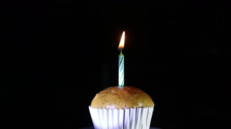 Cupcake With Candle Light birthday Stock mozgókép
