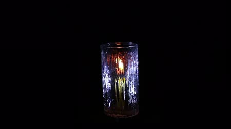 żyrandol : candle light with glass isolated black Wideo