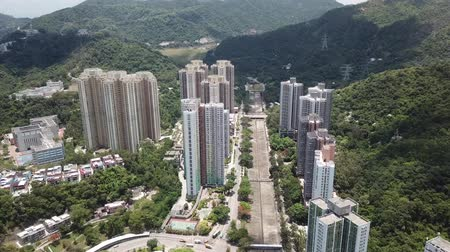hong kong : Aerial view over Shatin, Shung Mun River, Tai Wai with fine weather.