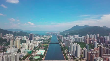 общественный : Aerial panarama view on Shatin, Tai Wai, Shing Mun River. Before typhoon Mangkhut come to Hong Kong Стоковые видеозаписи