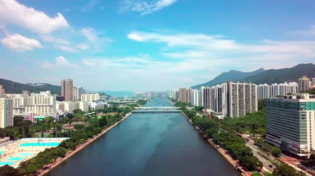 средства : Aerial panarama view on Shatin, Tai Wai, Shing Mun River. Before typhoon Mangkhut come to Hong Kong Стоковые видеозаписи