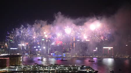 water display : Hong Kong Colorful Firework at Victoria Harbour on 1 October 2018 National Day