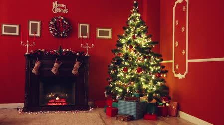 mekan : Room decorated for Christmas Stok Video