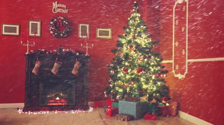scény : Room decorated for Christmas with falling snow