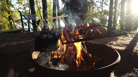 フィンランド語 : Campfire flames in slow motion with barbecuing of a sausages and campfire coffee in black pot in outdoors setting in Finnish Lapland.