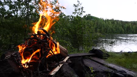 svéd : Campfire flames in slow motion with sausage being barbicued on the banks of Torne river in Sweden.