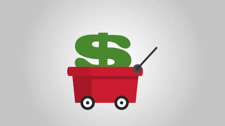 mining cart carrying a money symbol, HD Animation