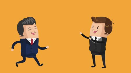Two business man thinking in money, business concept animation