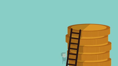 stack of coins and a businessman climbing a ladder towards her