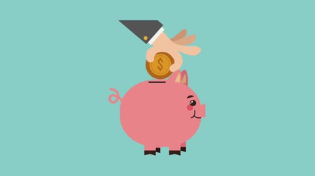 hand putting money into piggy bank icons animation design Vídeos