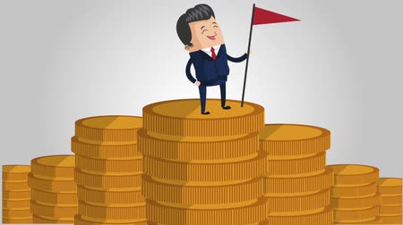 contas : businessman on pile of coins money icons money icons animation design Stock Footage
