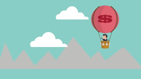 businessman on hot air balloon with dollar sign and man crying mountain cloud success icons businessman icons animation design