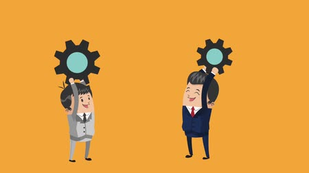 businessmen and gears team work icons businessman icons animation design