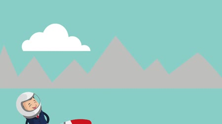 businessman on rocket with mountains on the background icons animation design Vídeos