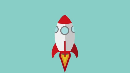 rocket lifts off success icons animation design Vídeos