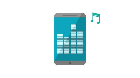 gêmeo : sound bars music playing on cellphone icons animation design Stock Footage