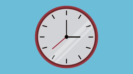 organizatör : Round frame clock in countdown over blue background, hd animation Stok Video