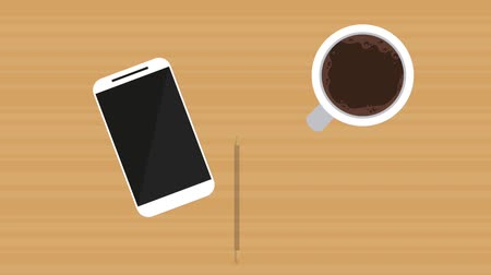 Coffee, smartphone and pencil appears on wooden table, amimation hd