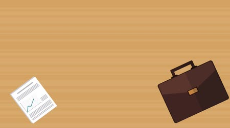 Briefcase and business reports over wooden background, animation hd