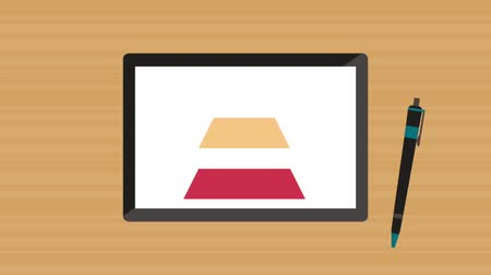 Triangle infographic from tablet screen, hd animation
