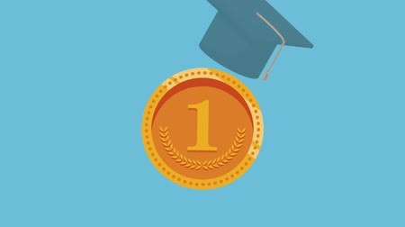diplom : Coin with graduation cap and diploma symbolizing education invest HD animation colorful scenes