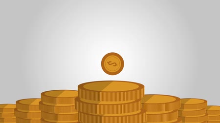 clipe de papel : money coins falling and piling icons animation design