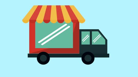 local : Delivery truck with store High definition animation colorful scenes