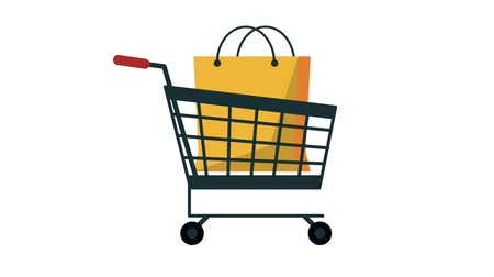 de aumento : Shopping bag into cart HD animation colorful scenes Stock Footage