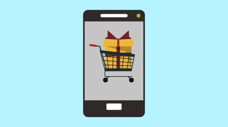 koszyk zakupy : Shopping cart appears on smartphone screen symbolizing ecommerce High definition animation colorful scenes Wideo