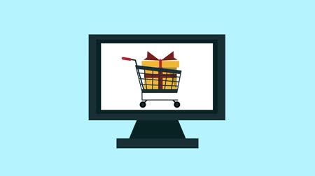 koszyk zakupy : Shopping cart appears on tablet screen symbolizing ecommerce High definition animation colorful scenes