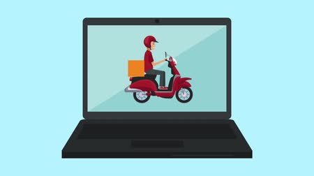 delivery food : Courier with motorcycle appears on laptop screen symbolzing food delivery online High definition animation colorful scenes