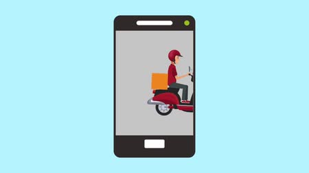 курьер : Courier with motorcycle appears on smartphone screen symbolzing food delivery online High definition animation colorful scenes Стоковые видеозаписи