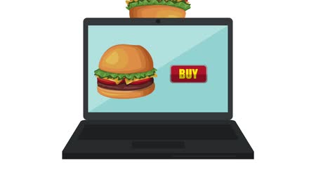 kursor : Buying hambuger online from laptop High definition animation colorful scenes Wideo