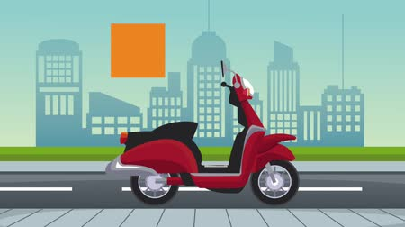 anão : Courier delivering on motorcycle High definition animation colorful scenes Stock Footage