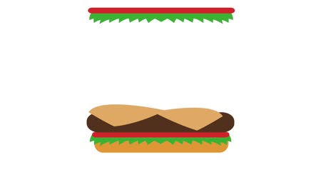aliment : Making a burger step by step High definition animation colorful scenes Stock Footage