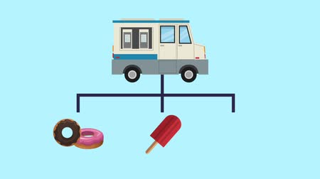 dondurma : Ice cream truck showing products High definition animation colorful scenes