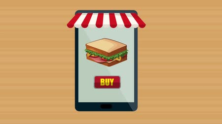 курьер : Order and delivery fast food from smartphone High definition animation colorful scenes