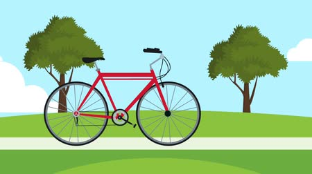 efektivní : Bike motion on park as the trees grows symbolizing ecology High definition colorful animation scenes Dostupné videozáznamy