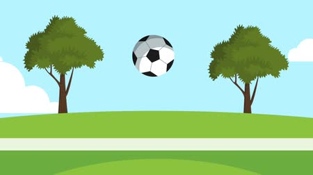 hokej : Soccer ball bouncing on grass High definition colorful animation scenes Wideo