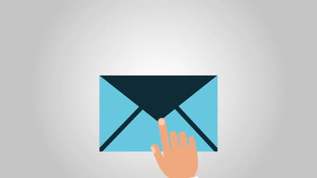 skrzynka pocztowa : Hand is touching on email symbol High definition animation colorful scenes