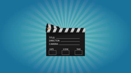tittle : Clapboard appears from up over blue background High definition animation colorful scenes