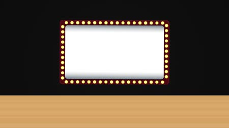 sinematografi : Blank cinema sign with lights appears after curtains was open High definition animation colorful scenes Stok Video