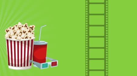 picture box : Popcorn box and cinema 3d glasses High definition animation colorful scenes