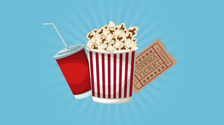 picture box : Popcorn box with cinema tickets and soda cup High definition animation colorful scenes