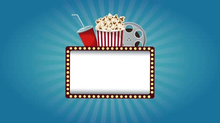 picture box : Blank cinema sign with lights on and off High definition animation colorful scenes