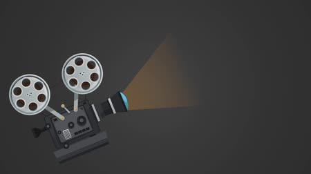 video reel : Vintage cinema camcorder over black background High definition animation colorful scenes