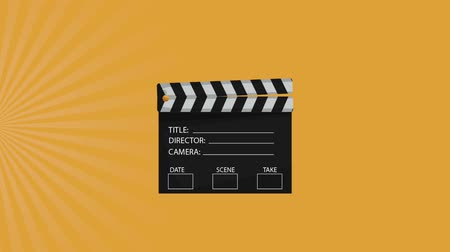 video reel : Clapboard appears from up over yellow background High definition animation colorful scenes Stock Footage