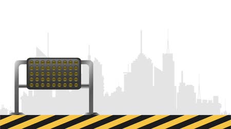 maintenancetools : Under construction sign with lights in the city Stock Footage