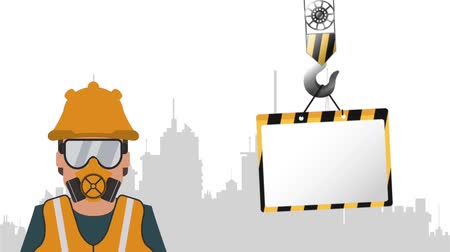 maintenancetools : Construction crane with blank sign over cityscape