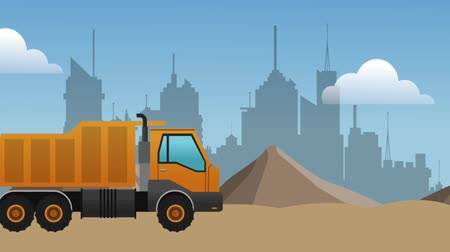 maintenancetools : truck passing by construction zone over cityscape Stock Footage